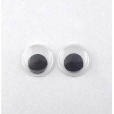 Глазки круглые бегающие d10мм , пластик, черно-белые