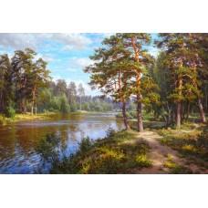 F-447 Картина (Озеро в лесу) Алмазная мозаика 40x30см, 39 цветов